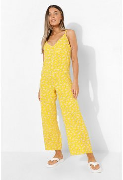 Yellow Daisy Print Wide Leg Jumpsuit