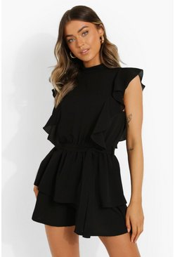 Black Extreme Ruffle Tie Waist Flippy Playsuit
