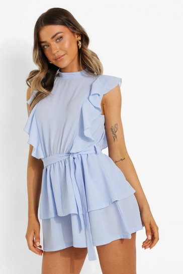 Light blue blue Extreme Ruffle Tie Waist Flippy Playsuit