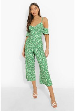 Green Daisy Print Cold Shoulder Culotte Jumpsuit