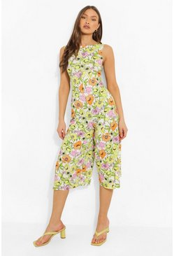 White Floral Print Scoop Back Culotte Jumpsuit