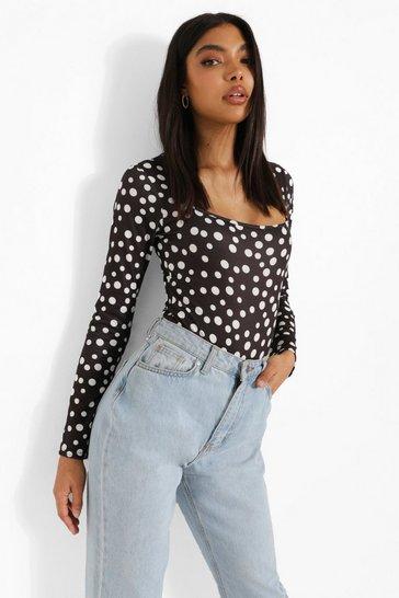Black Tall Spot Print Long Sleeve Jersey Bodysuit
