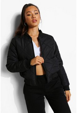 Black Diamond Quilt Bomber Jacket
