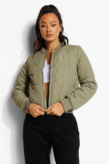 Khaki Diamond Quilt Bomber Jacket