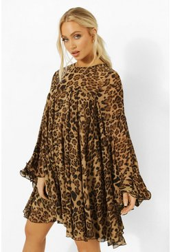 Brown Leopard Print Pleated Detail Smock Dress