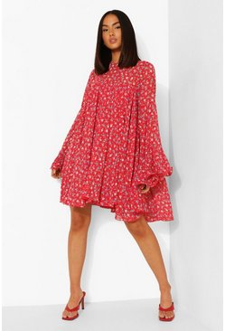 Red Floral Print Pleated Detail Smock Dress
