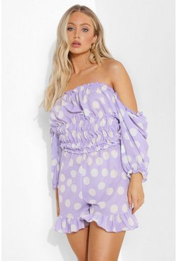 Lilac purple Polka Dot Bardot Playsuit