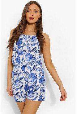 Blue Porcelain Halterneck Flippy Playsuit