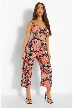 Black Floral Cut Out Culotte Jumpsuit
