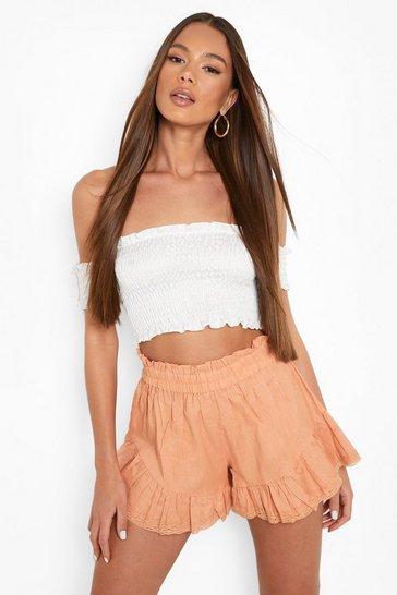 Blush pink Linen Lace Trim Ruffle Shorts