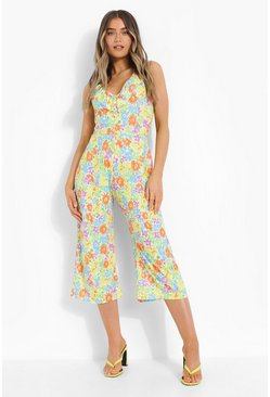 White Neon Floral Cross Back Culotte Jumpsuit