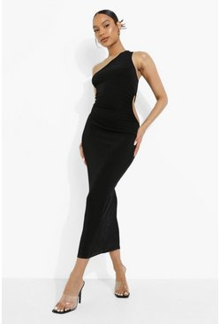 Black Neon One Shoulder Cut Out Midaxi Dress