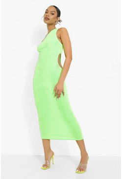 Neon-green neon Neon One Shoulder Cut Out Midaxi Dress