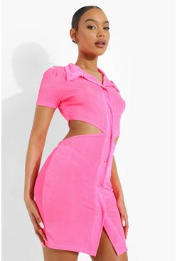 Neon-pink pink Neon Cut Out Collared Mini Dress
