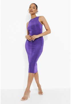 Neon purple Neon Racer Neck Midi Dress