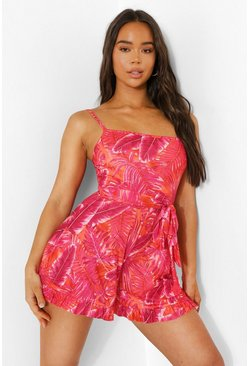 Neon Palm Print Strappy Belted Playsuit , Neon-pink rosa