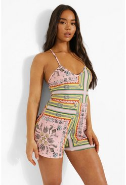Pink Shell Print Halterneck Cross Plunge Playsuit