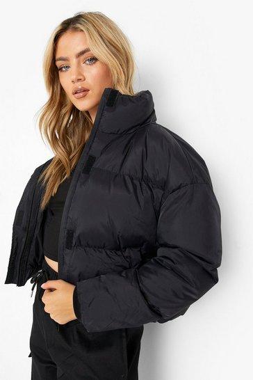 Black Funnel Neck Puffer Jacket