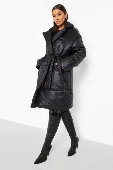 Black Belted Duvet Puffer Coat