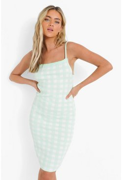 Mint green Gingham Knitted Dress