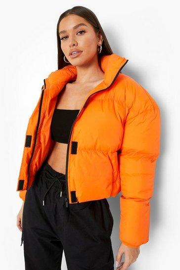 Orange Funnel Neck Puffer Jacket