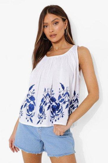 White Embroidered Cotton Sleeveless Smock Top