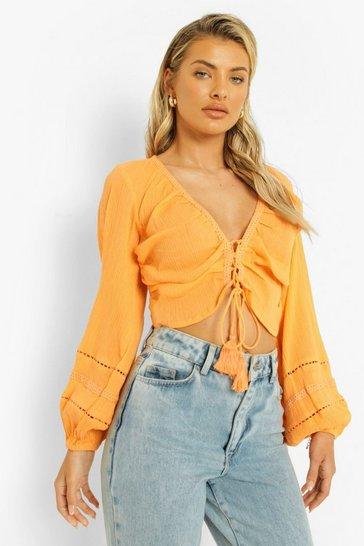Orange Cheesecloth Balloon Sleeve Tassel Detail Top