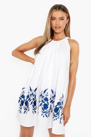 White Embroidered Cotton Sleeveless Smock Dress