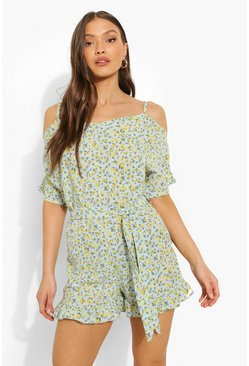 Blue Ditsy Floral Cold Shoulder Playsuit