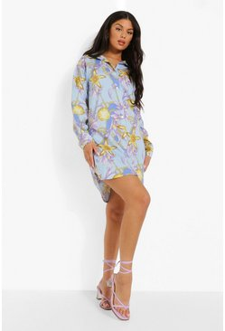 Blue Shell Pint Button Down Shirt Dress