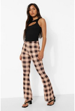 Brown Tonal Gingham Check Jersey Flares