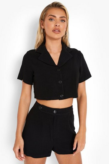 Black Linen Mix Cropped Blazer