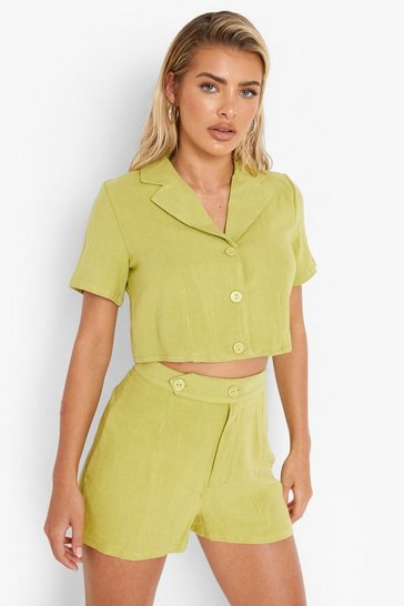 Lime green Linen Mix Cropped Blazer