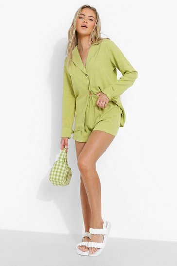 Lime green Linen Mix Relaxed Fit Blazer