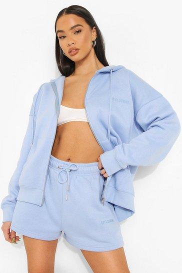 Blue Oversized Zip Hooded Short Tracksuit