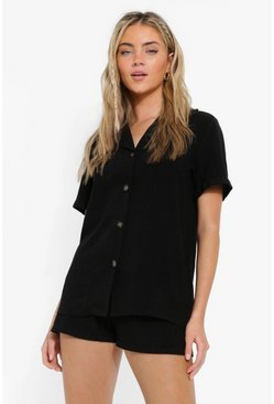 Black Linen Mix Relaxed Fit Shirt