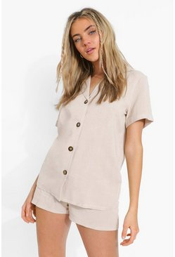 Ecru vit Linen Mix Relaxed Fit Shirt