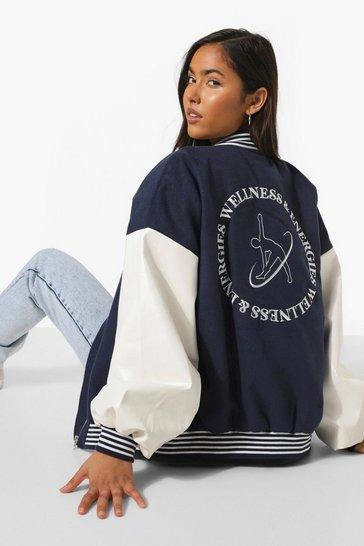 Navy Back Embroidered Oversized Varsity Jacket