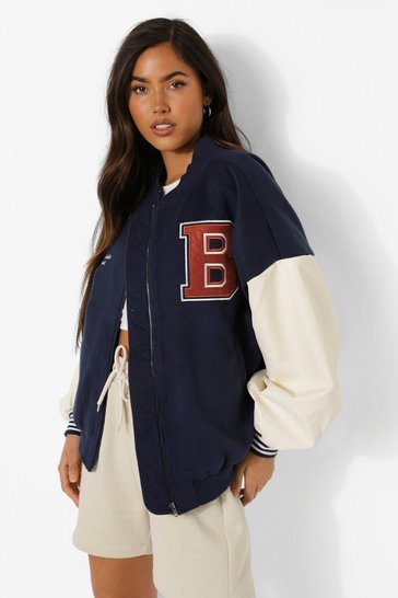 Navy Embroidered B Oversized Varsity Jacket