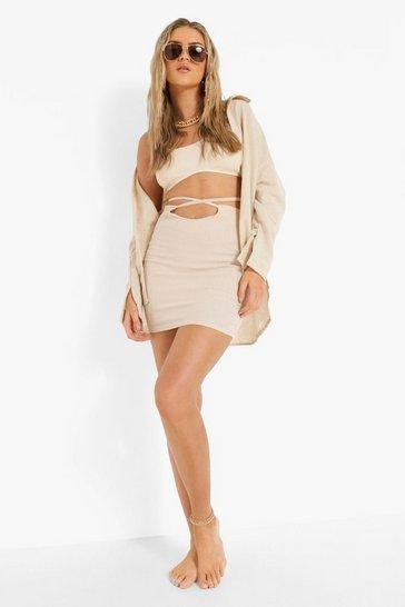 Ecru white Linen Mix Tie Waist Skirt