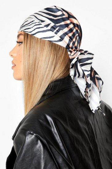Brown Zebra Print Headscarf