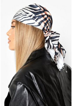 Brown Zebra Print Headscarf