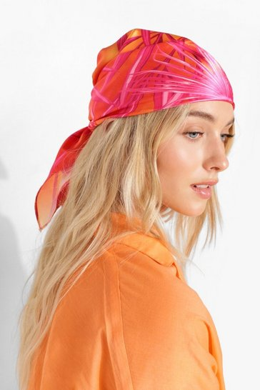 Orange Palm Print Headscarf