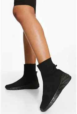 All Black Knitted Sock Trainer