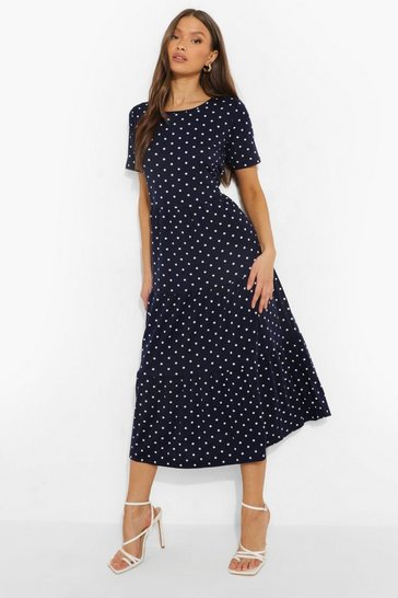 Navy Polka Dot Smock Maxi Dress