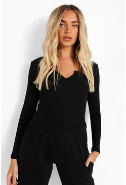 Black Notch Neck Long Sleeve Bodysuit