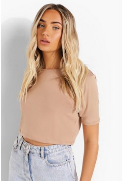 Stone Cropped Short Sleeve T Shirt