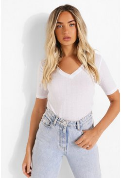 White V Neck Short Sleeve T Shirt