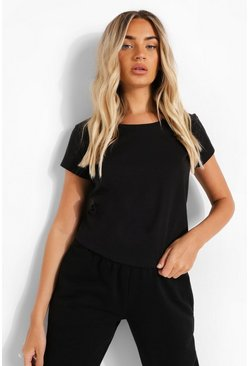 Black Oversized T-Shirt Met Crewneck