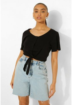 Black Button Through Tie Detail Crop Top
